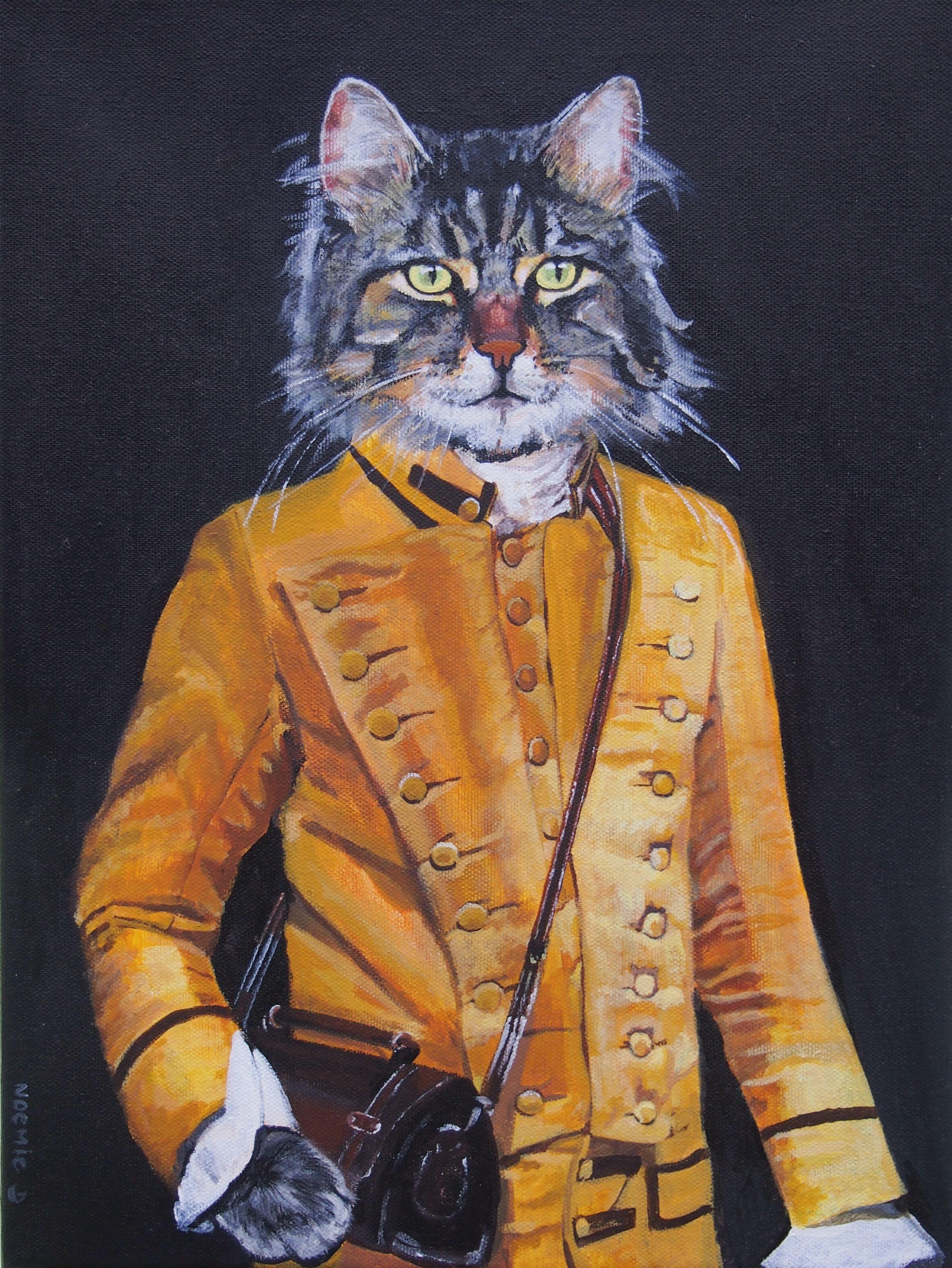 Tableau portrait animalier animal chat humanis peinture acrylique sur toile animal corps for Peinture acrylique sur toile