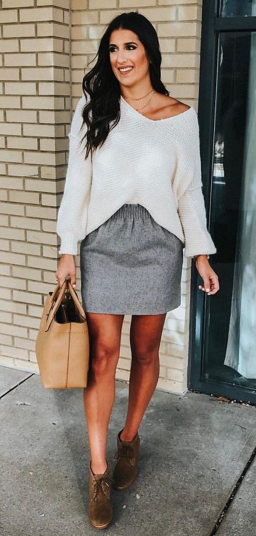 808bf71fc40  fall  outfits women s white v-neck long-sleeved shirt and grey miniskirt  outfit