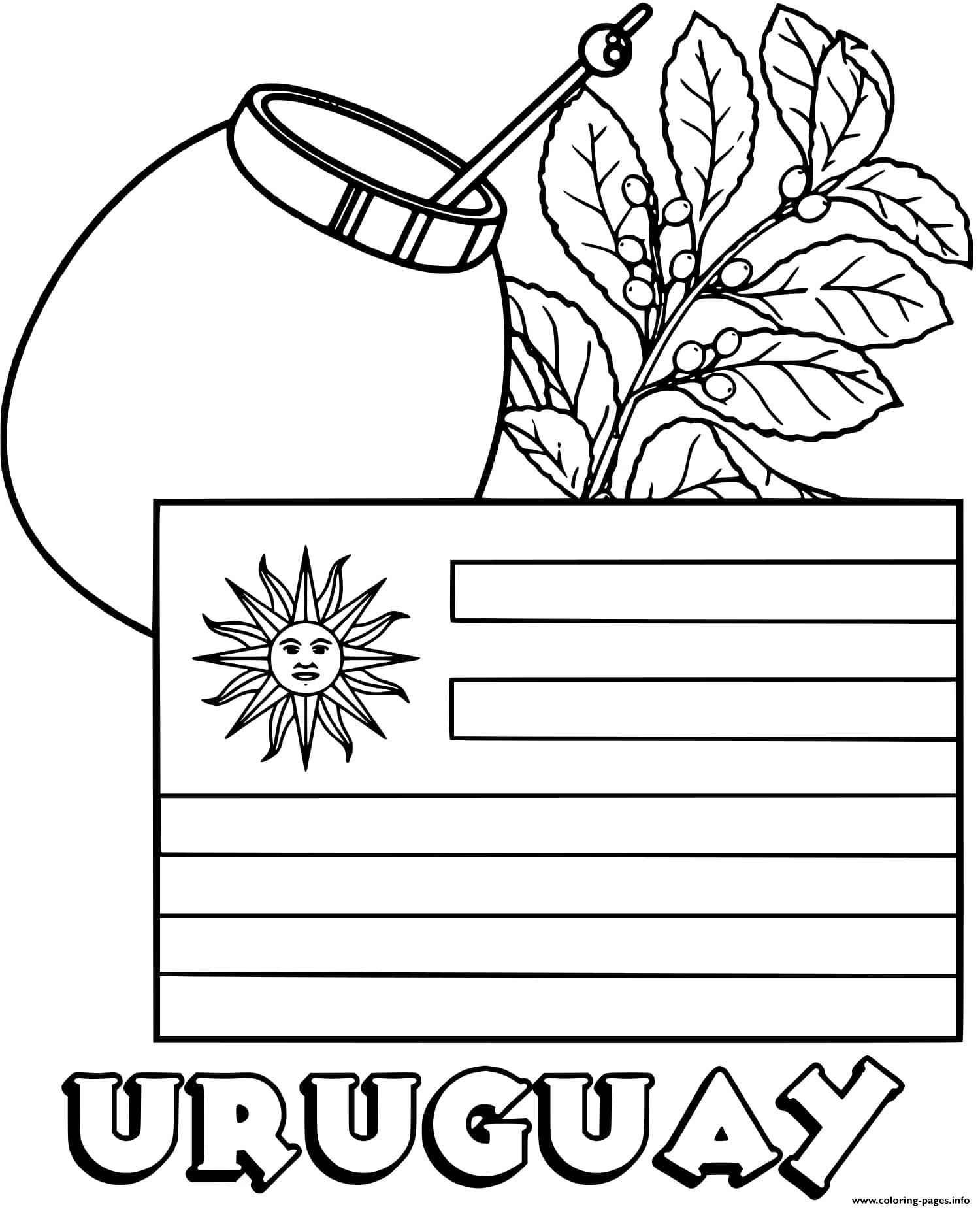 Print Uruguay Flag Yerba Mate Coloring Pages Flag Coloring Pages