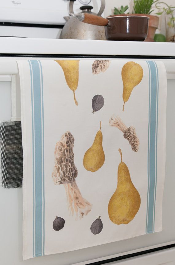Tea Towel w Pear Mushroom Fig Watercolors by Lore Ruttan