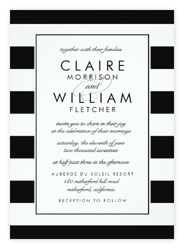 Simple Clic Black White Striped Wedding Invitations From Zazzle