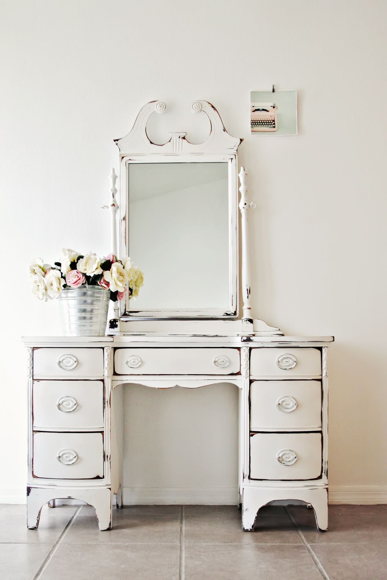 distressed white vintage vanity farmhouse vanity