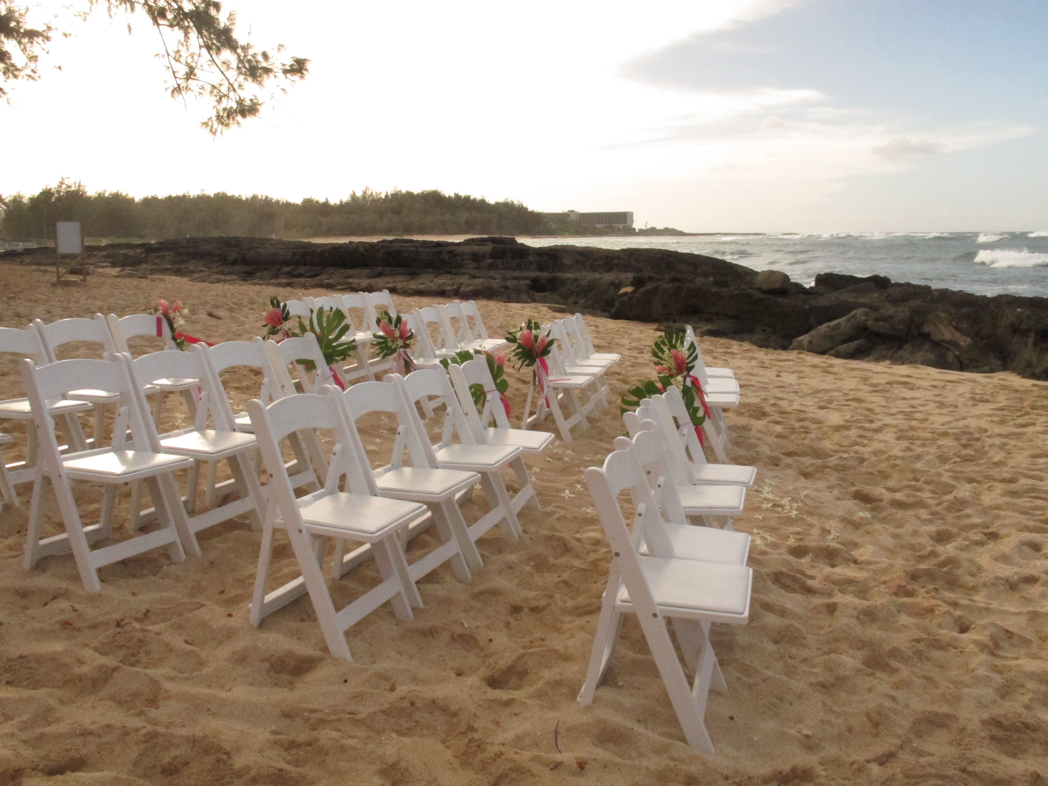 A Simple Ceremony Set Up At Turtle Bay Resort's 18th Green