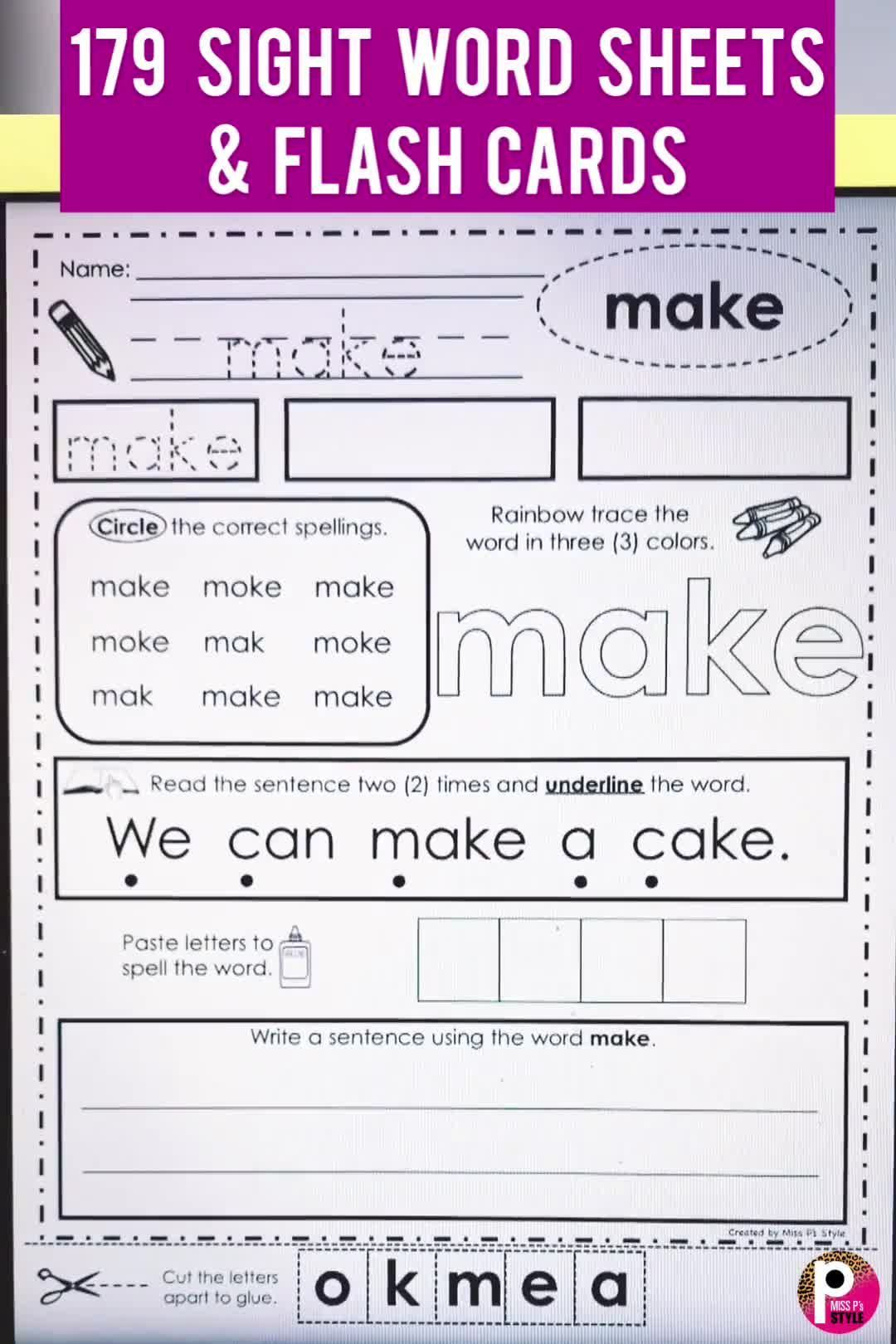 This Bundle Of Sight Word Pages Provide Many Ways To Practice Reading Handwriting Tracing Sight Word Worksheets Sight Word Flashcards Sight Words Kindergarten