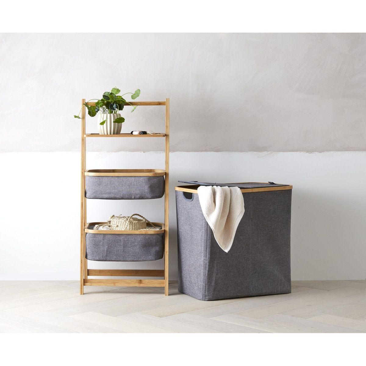 3 Tier Storage Caddy With Bamboo Frame Kmartnz Storage Caddy Bamboo Frame Laundry Hamper