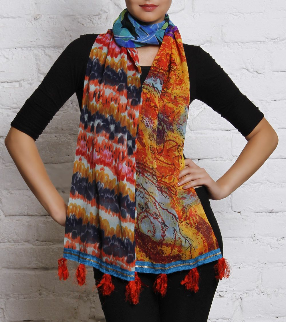 Multicoloured Printed Chiffon Scarf