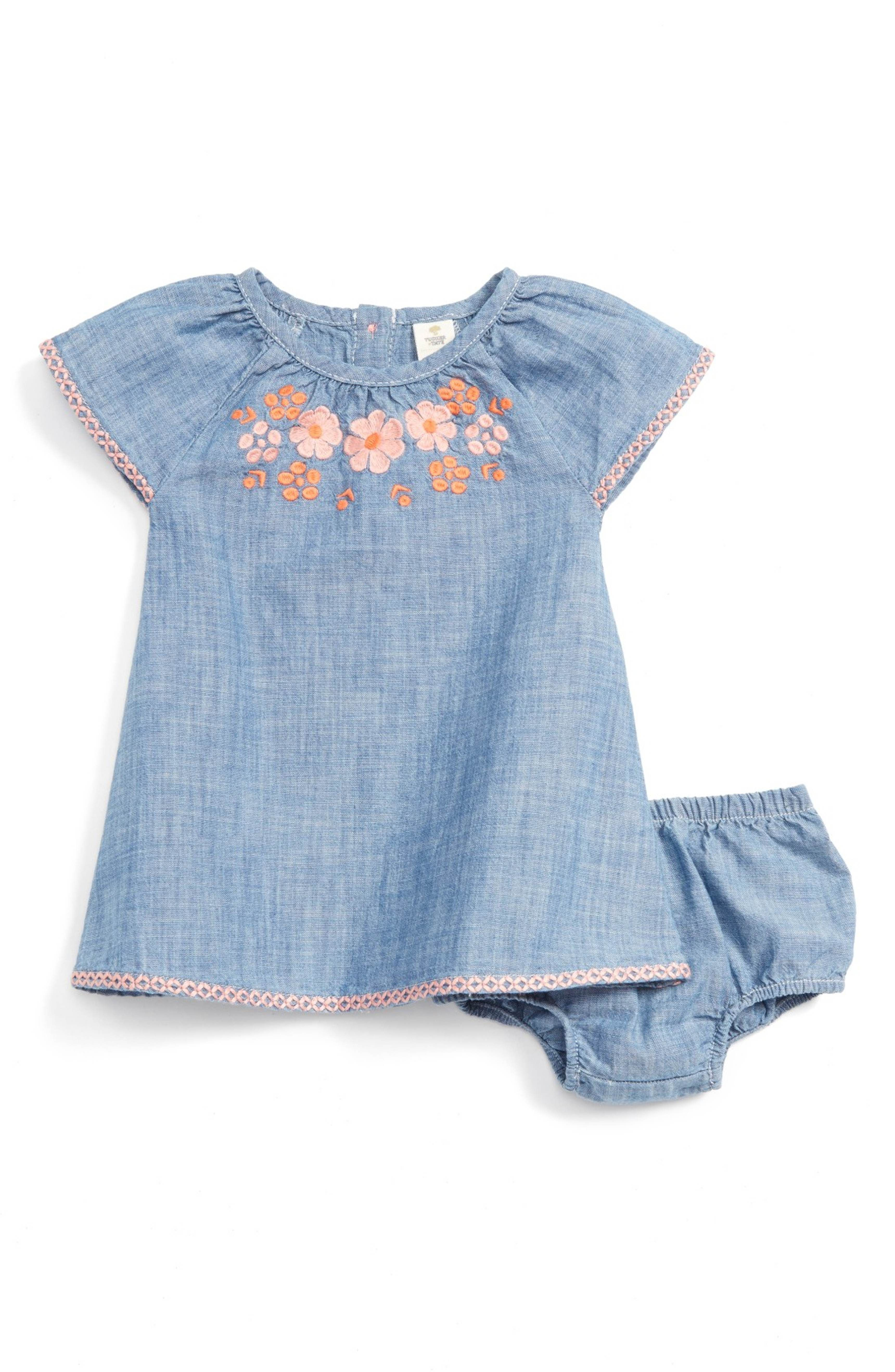 Main Image Tucker Tate Embroidered Chambray Dress Baby Girls