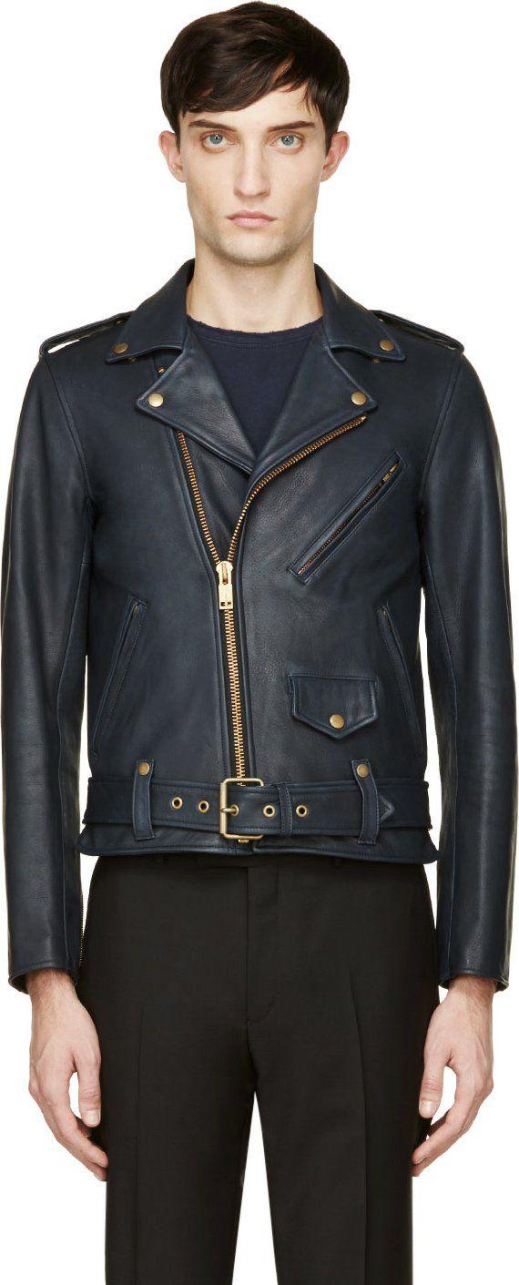 Blackmeans Navy Blue Exclusive Leather Biker Jacket Leather Jacket Men Leather Jacket Stylish Jackets [ 1411 x 570 Pixel ]