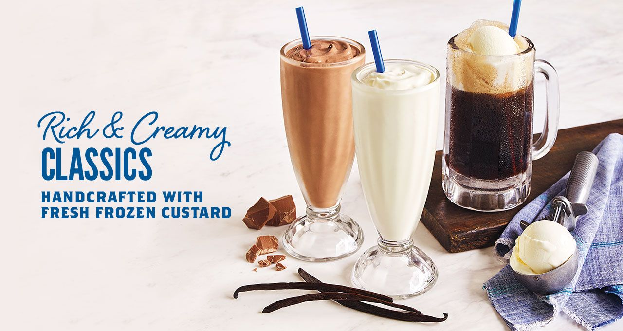 Handcrafted Shakes Malts Floats Variety Of Flavors Culver S Malts Frozen Custard Chocolate Malt