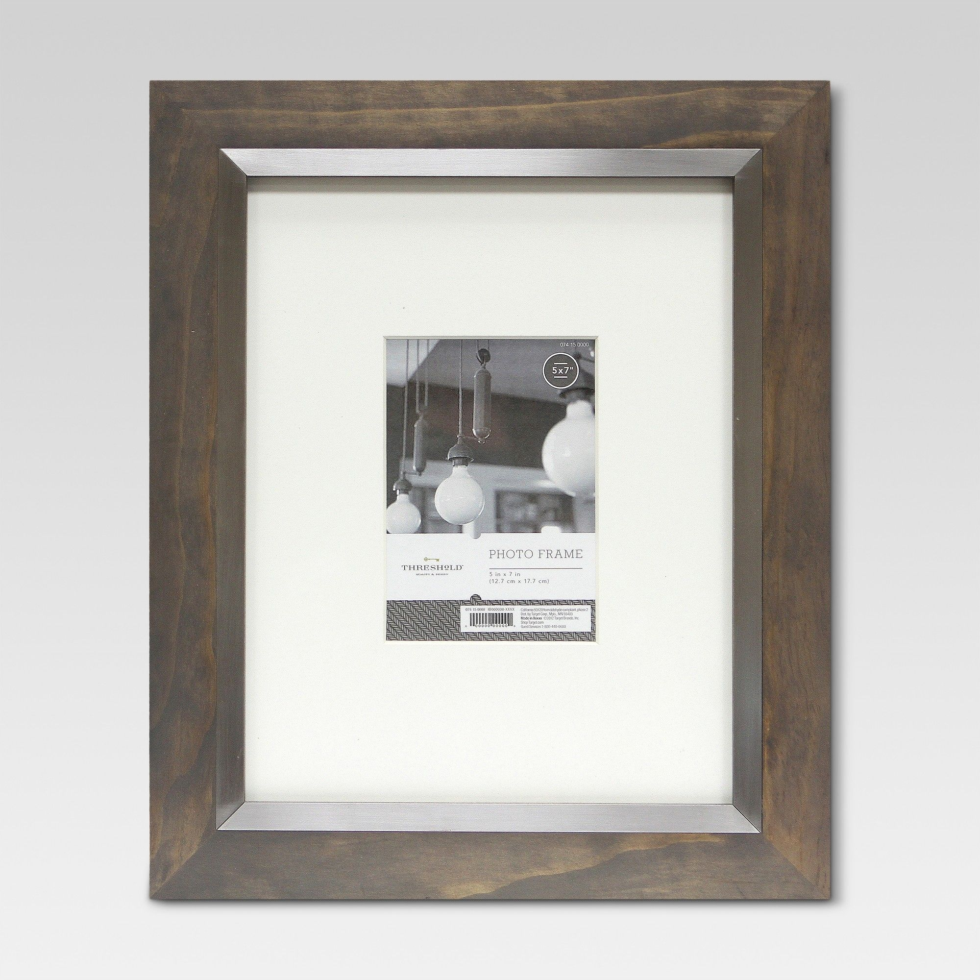 11 X14 Frame Holds 5x 7 Image With Silver Inner Gray Wash Threshold Frame Frame Display Frames On Wall