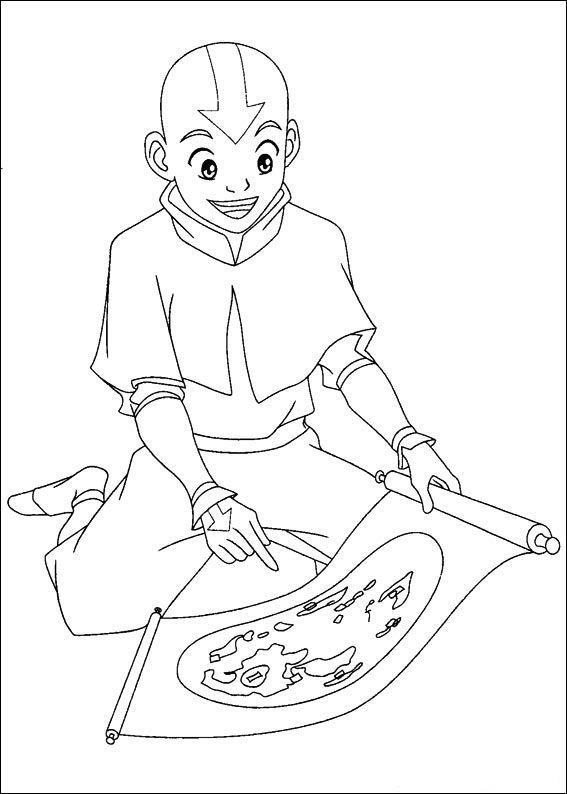 Avatar The Last Airbender Aang Re Looking At A Map Coloring Pages For Kids Bm0 Printable Ava Coloring Pages Cartoon Coloring Pages Avatar The Last Airbender