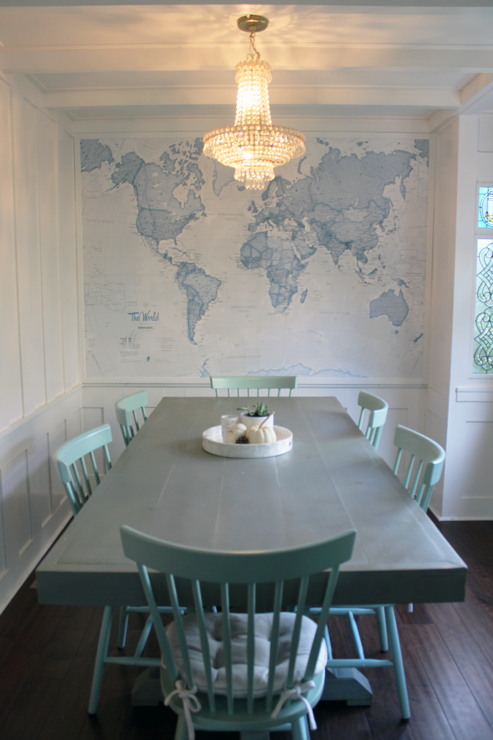 Blue World Map Wallpaper Mural MuralsWallpaper Dining