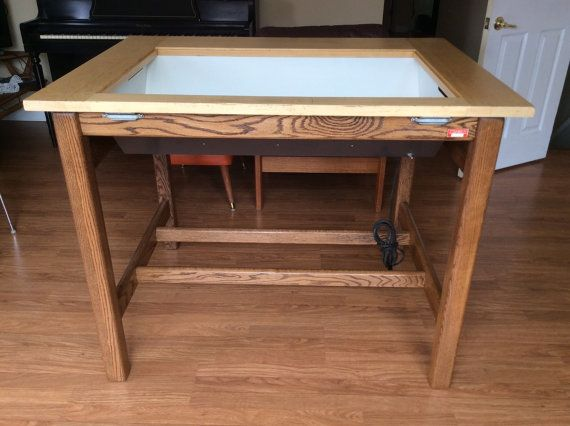 vintage hamilton lighted drafting table | light works, solid oak and