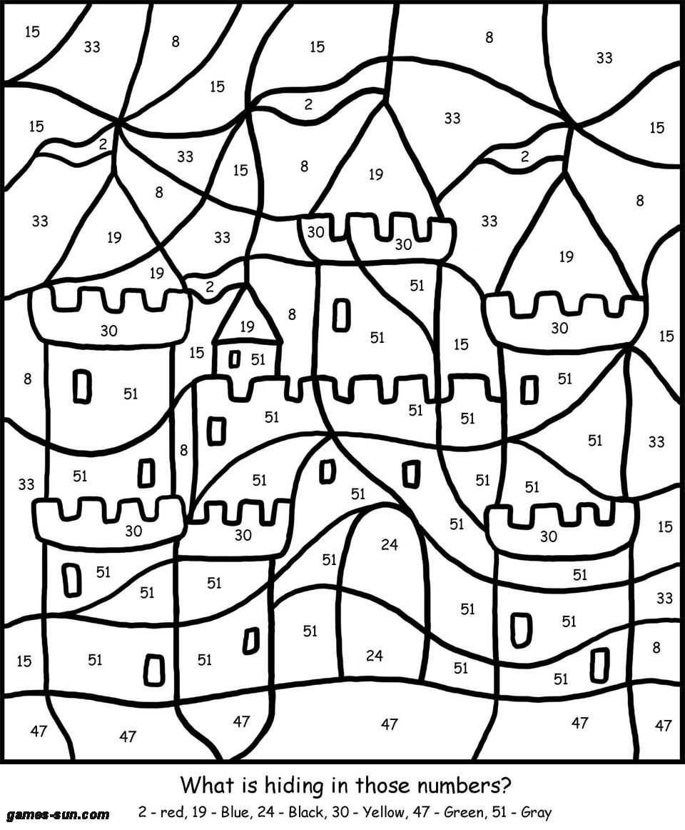 Printable coloring pages sand castle - Sand Castle Coloring By Numbers Games The Sun Games Site Flash Games Online Free