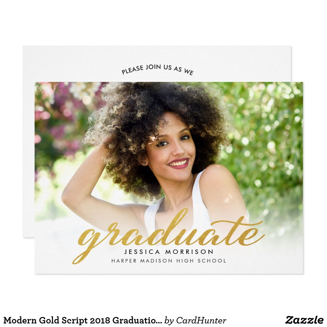 Modern Gold Script  Graduation Announcement  Party Invitation