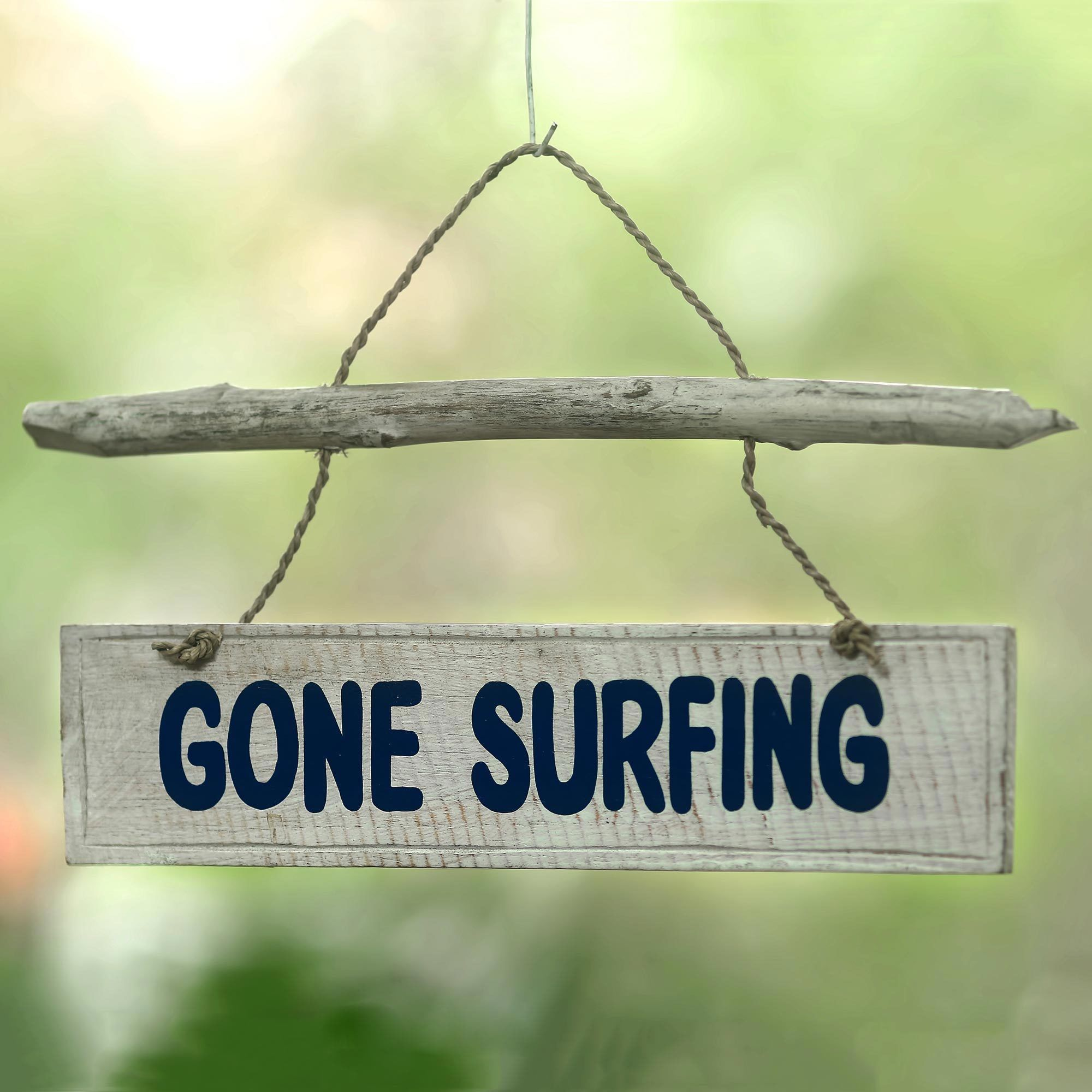 Novica Handcrafted Albesia \'Gone Surfing\' Wall Sign | SE Asia ...