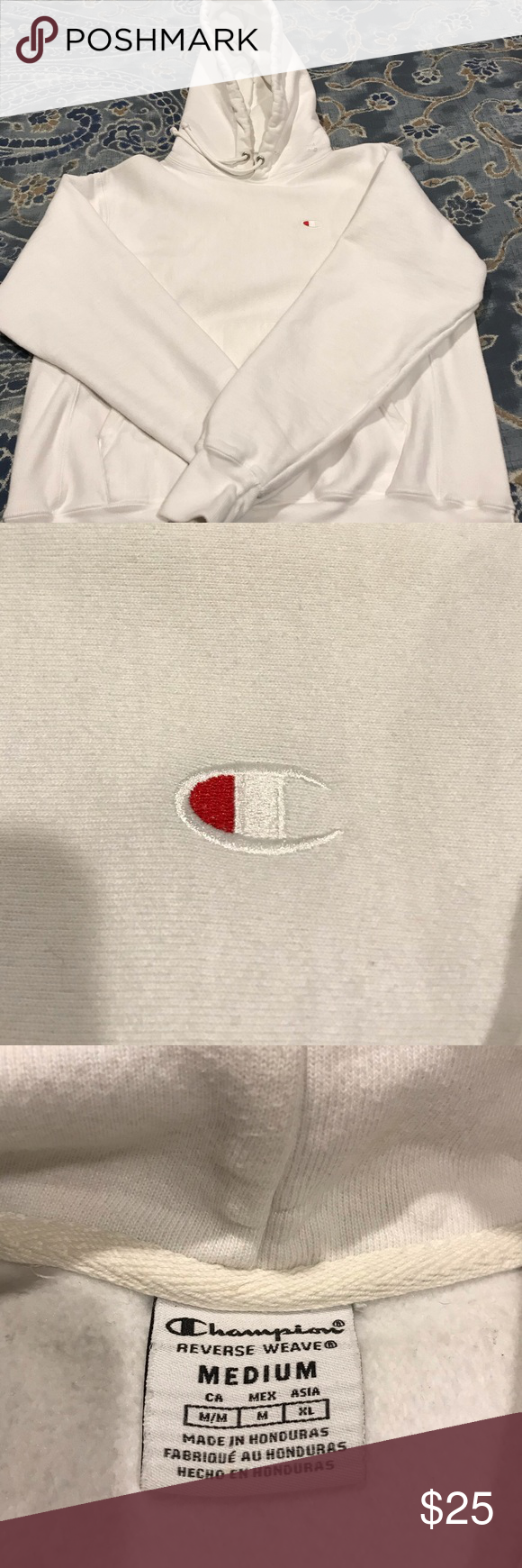 White Champion hoodie Condition is worn. Fits like a men's small. Rips as pictured on the hood. No major stains. Champion Tops Sweatshirts & Hoodies #championhoodie White Champion hoodie Condition is worn. Fits like a men's small. Rips as pictured on the hood. No major stains. Champion Tops Sweatshirts & Hoodies #championhoodie
