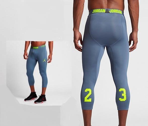 62487f65d97 Nike Mens Jordan AJ All Season Compression 3/4 Pants Large Blue Volt  814656-404 #Nike #Leggings