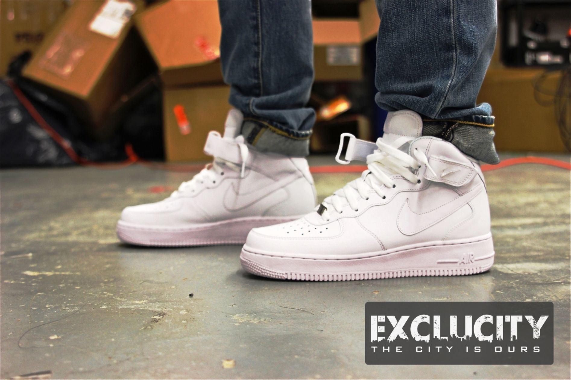 the best attitude b2bf1 c0181 nike air force 1 high top white on feet – EcoSport