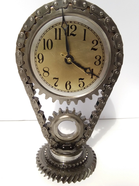 Car parts man cave automotive decor gear head gear clock
