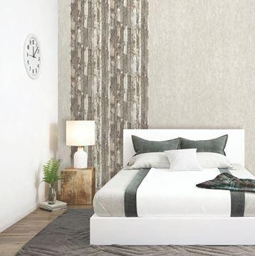 Behang hout en boomschors beige Dutch Home in slaapkamer | Landelijk ...