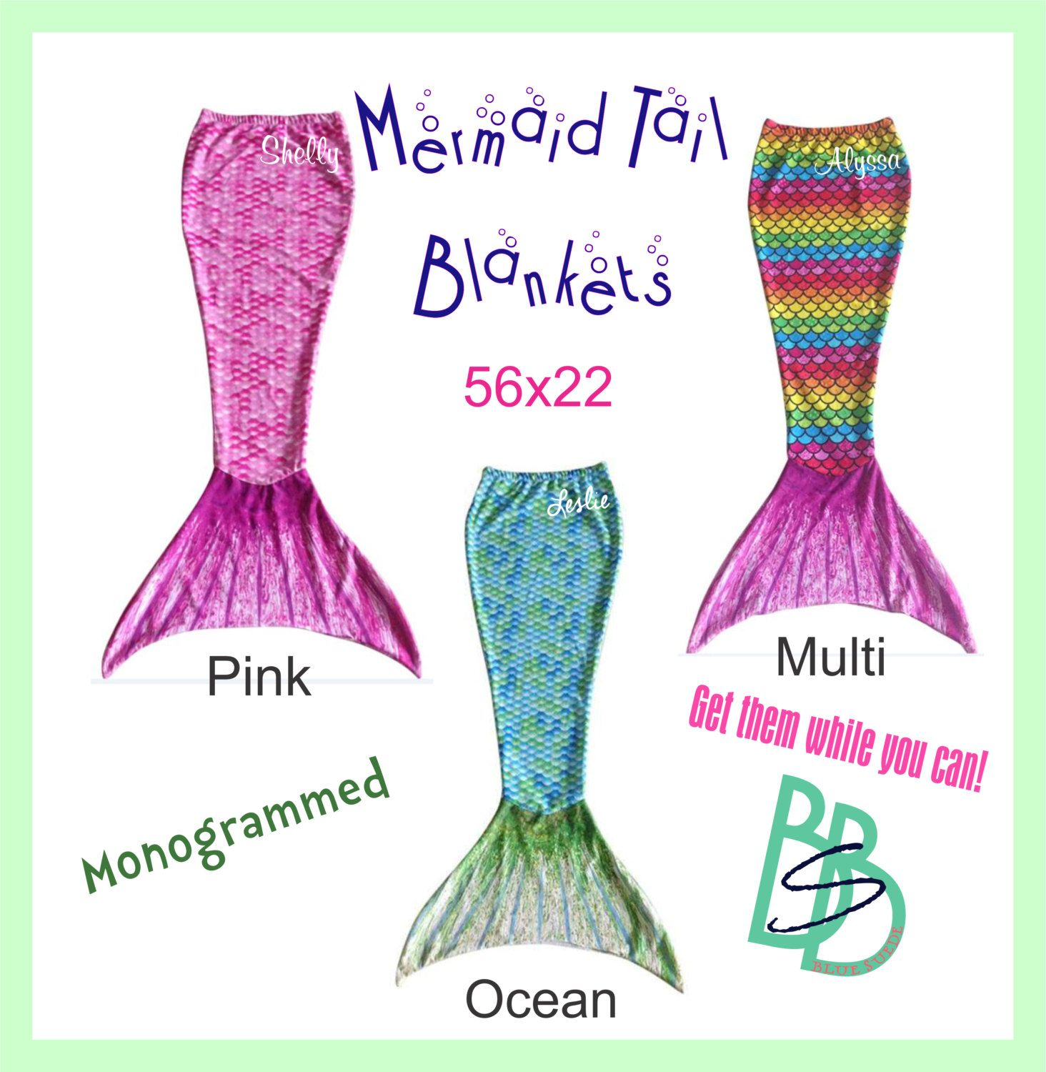 Mermaid Tail Blankets - Monogrammed Embroidered - Great Gift for Children  this Christmas