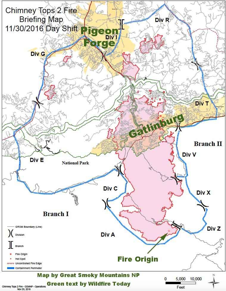 I 69 Tennessee Map.Map Of The Chimney Tops 2 Fire At Gatlinburg Tn Nov 30 2016
