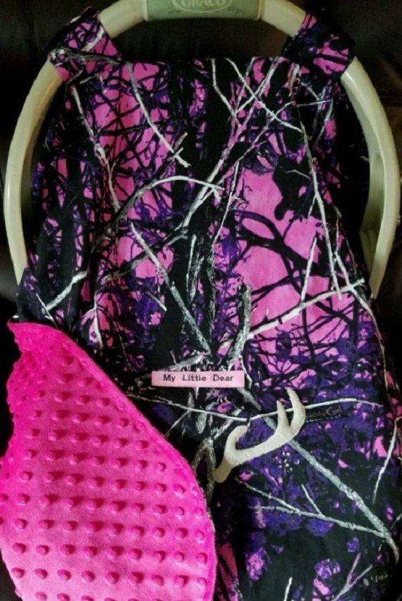 Infant Car Seat Canopy Cover Muddy Girl Camo Baby Purple Minky Lining Embroidery Car Safety Seats