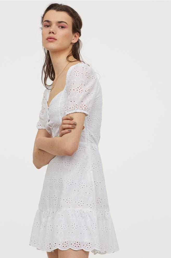 Kleid mit Broderie Anglaise - Weiß - Ladies   H&M DE in ...