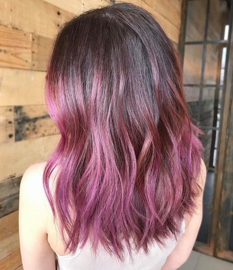 Brunette To Pink Dyed Hair Hair Styles Dip Dye Hair
