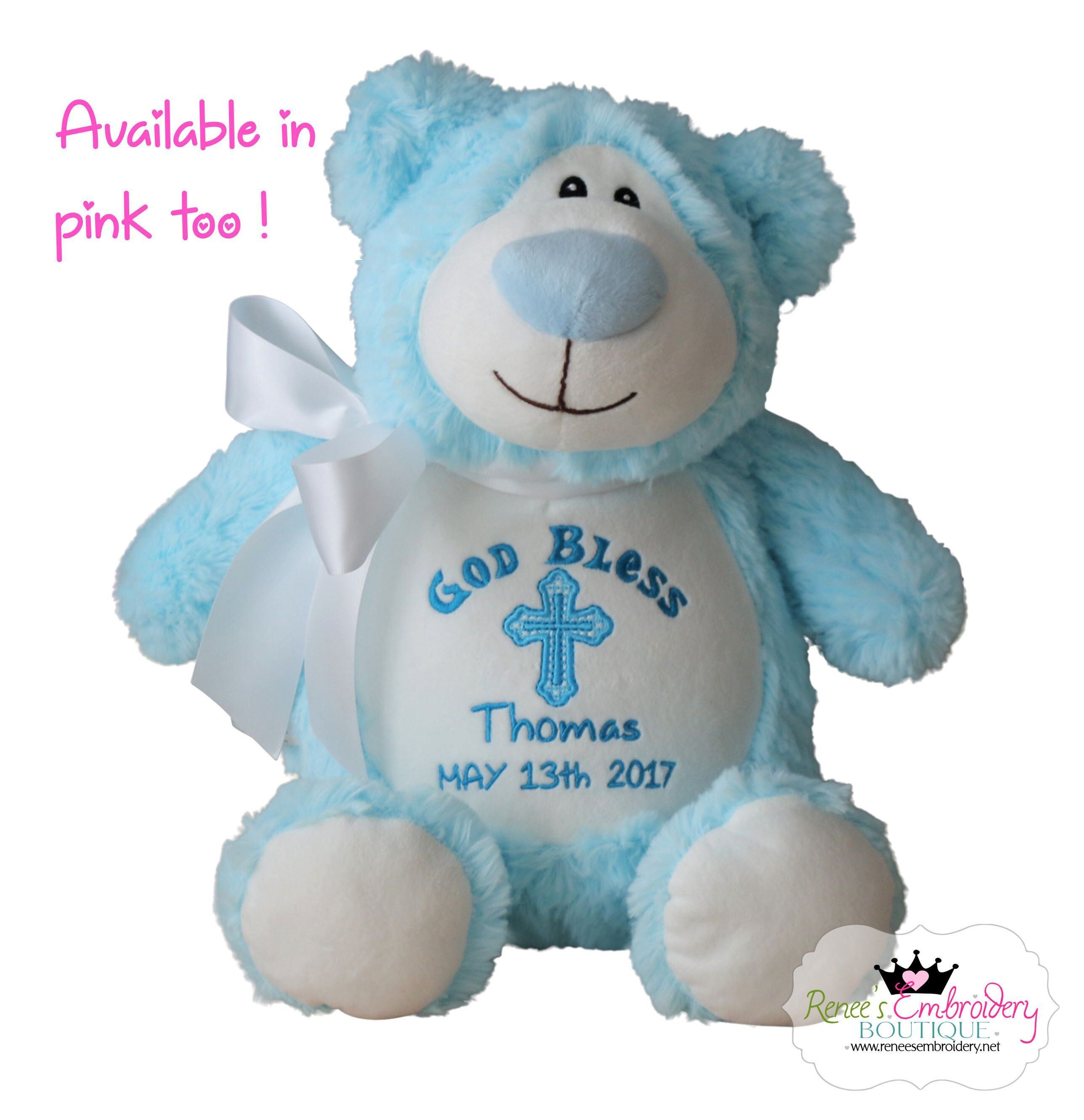 Personalized baby baptism gift stuffed animal bear christening personalized baby baptism gift stuffed animal bear christening baptism plush stuffed animal personalized baby negle Images