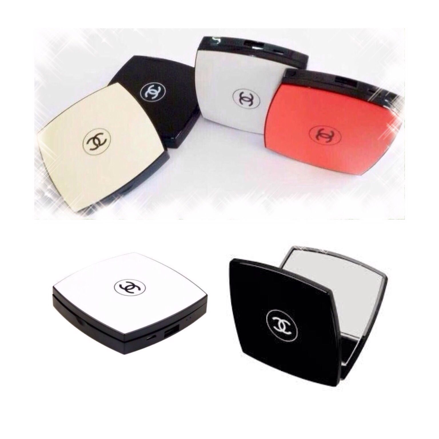 5000mah External Backup Battery Power Bank Can Charge Any Smart Phone Usb Ports Cute Design Of Chanel Chanel Compact Mirror Powerbank Compact Mirror