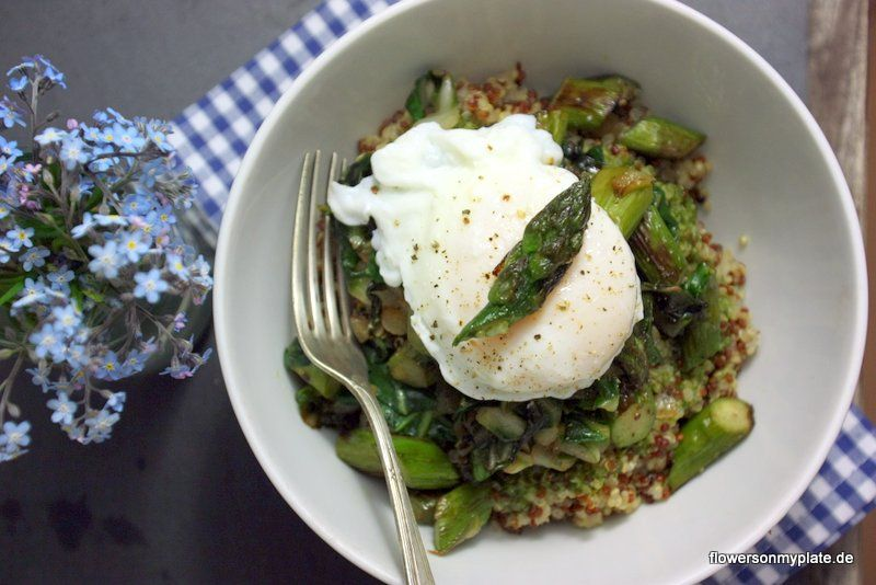 quinoa with pan fried asparagus, chard and poached egg (recipe)