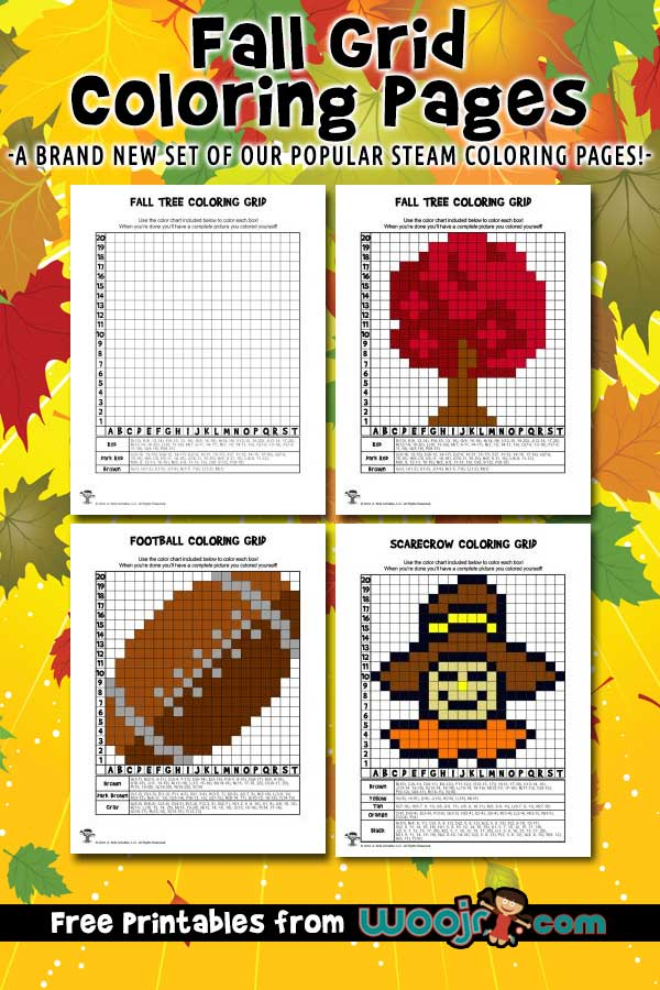 Fall Grid Coloring Pages Mystery Picture Activities