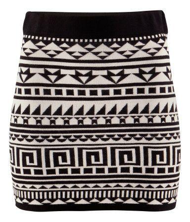 Jacquard-knit, figure-fit skirt - £12.99 - H+M