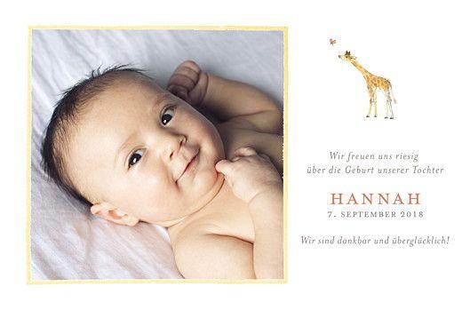 Geburtskarte Giraffe Foto gelb by Petite Alma für Rosemood.de #Giraffe #Baby
