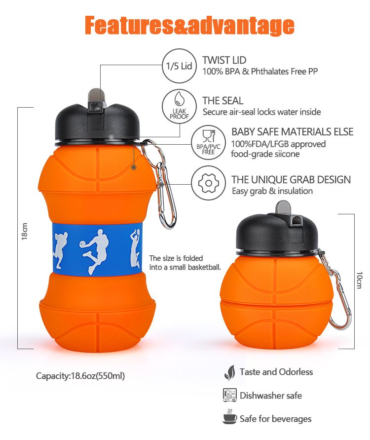 9c3a4cced6 Custom Best Biodegradable Squeeze Folding Frosted Sport Bottle Water ...