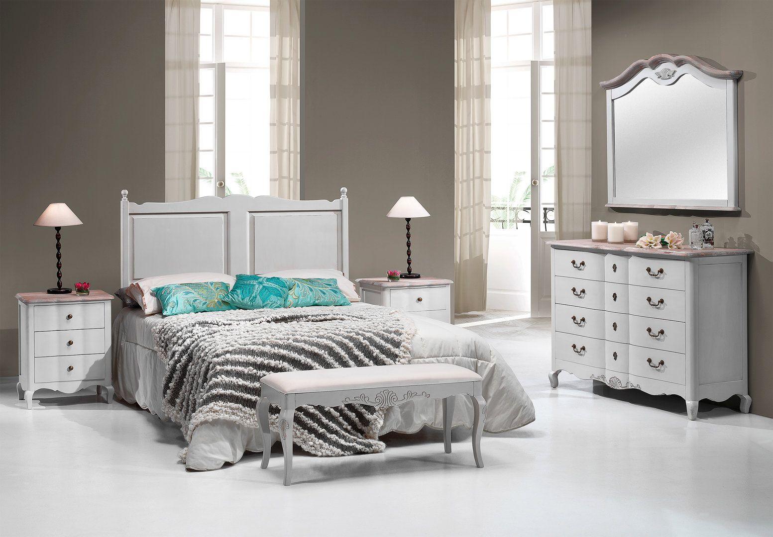 Dormitorio blanco de matrimonio provence dormitorios for Catalogo de muebles de dormitorio