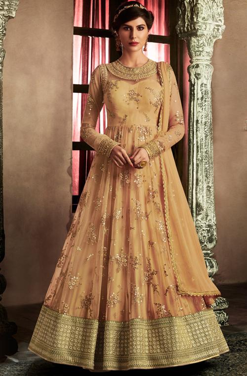 ce4d1e9f3f2 Beige Gold Designer Embroidered Net Wedding Anarkali Suit – Saira s Boutique