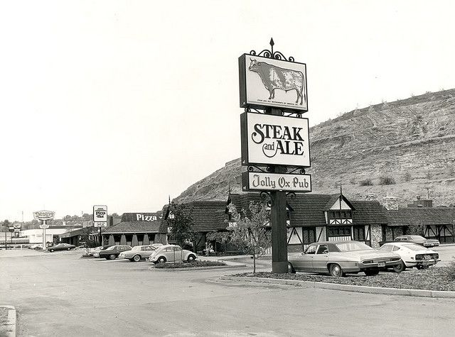 Restaurants and Businesses Rt 51 West Mifflin 1978 | Steak and ale, World movies and Toy store
