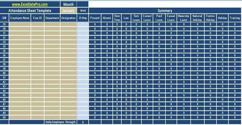 Employee Attendance Sheet Excel Template