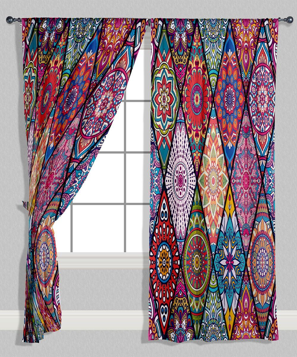Red Purple Geometric Curtain Panel Set Of Two Cortinas De