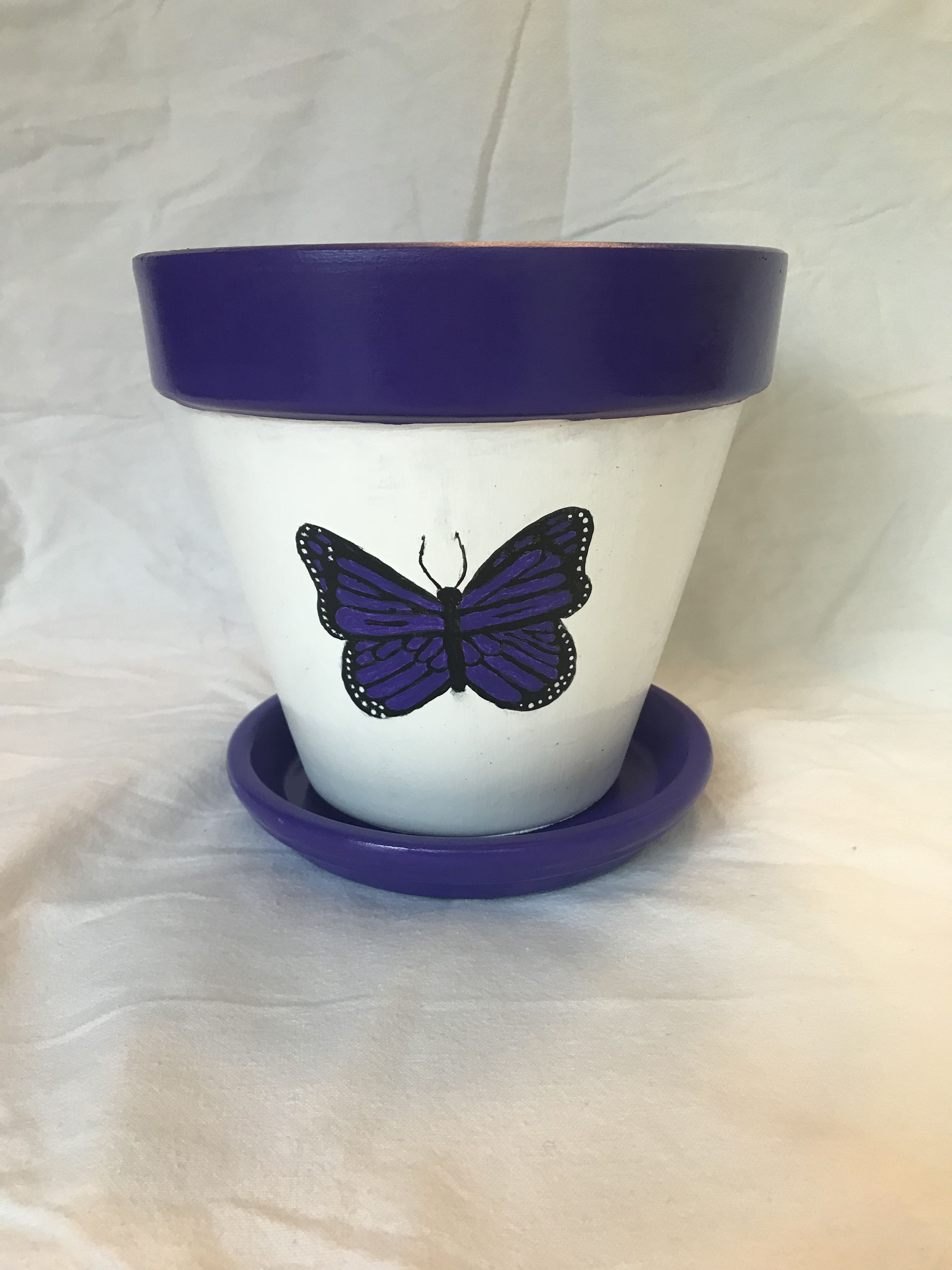 Hand Painted Pot Purple Butterfly Painted Flower Pots Flower Painting Painted Pots