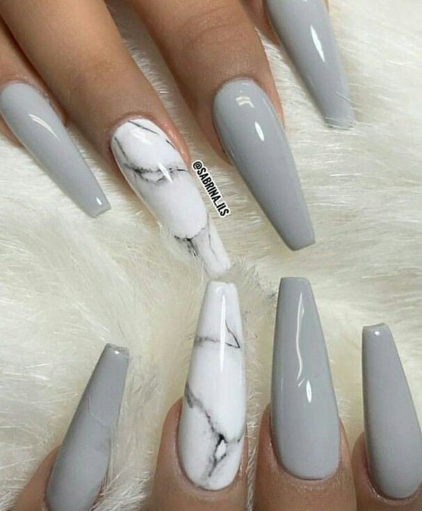 Grey And Marbled Nails Sculpted Nails Pretty Acrylic Nails Gorgeous Nails