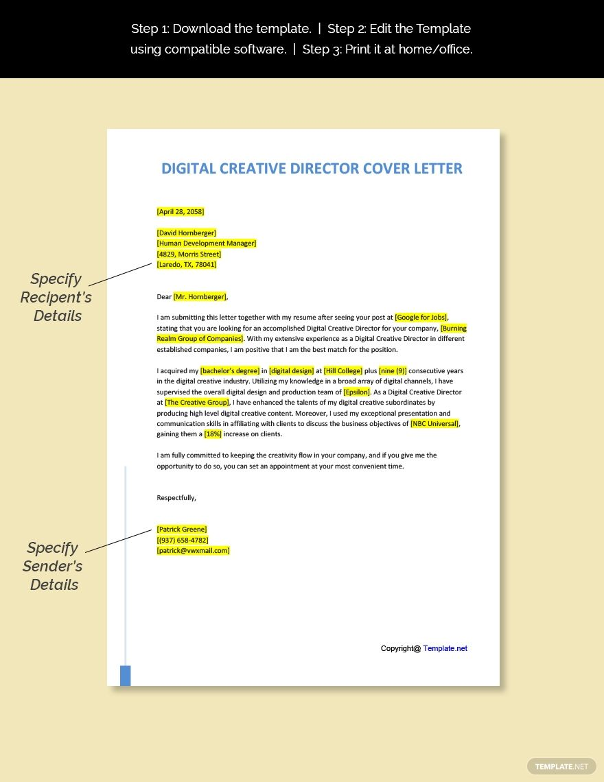 FREE Digital Creative Director Cover Letter Word Pages