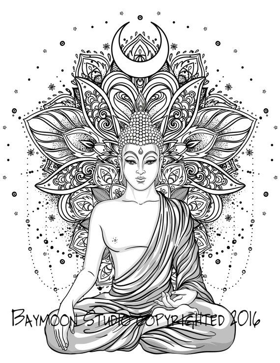 Hindu Lotus Temple Adult Coloring Pages Buddha Tattoo Design