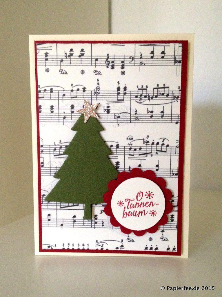 Stanpin'Up! Weihnachtskarte, Framelits Formen Tannentraum, Stempelset O Tannenbaum, Glutrot, Moosgrün #cartedenoel