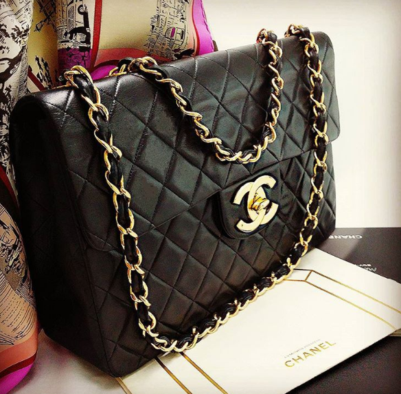 Chanel Vintage Maxi Jumbo Rm 7990 Sales Black Lamb Skin W Gold Hardware Condition Good With Authenticit Vintage Chanel Bag Chanel Collection Chanel Dubai