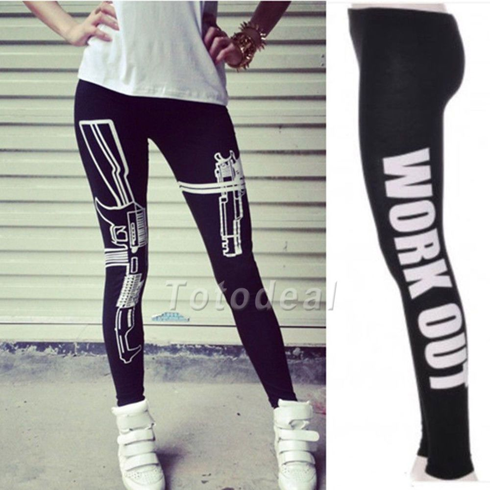 eb5d5421e685 New Womens Ladies Girls Gun Work out Style Jersey Gym Leggings pants   Unbranded