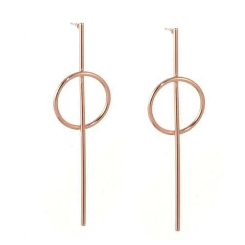 Quirky Costume Jewellery Simple Rose Gold Stick and Circle Outline